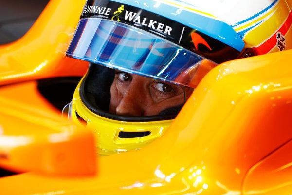Albert Park, Melbourne, Australia. Friday 24 March 2017. Fernando Alonso, McLaren, in cockpit with crash helmet visor open. World Copyright: Steven Tee/LAT Images ref: Digital Image _O3I9898