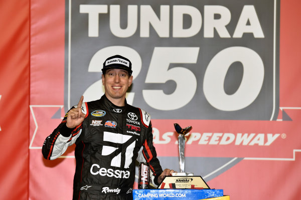 NASCAR Camping World Truck Series Toyota Tundra 250 Kansas Speedway, Kansas City, KS USA Friday 12 May 2017 Kyle Busch, Cessna Toyota Tundra celebrates his win in Victory Lane World Copyright: Nigel Kinrade LAT Images ref: Digital Image 17KAN1nk07206