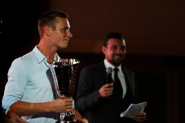 2013 GP2/3 Awards Evening. Yas Marina Circuit, Abu Dhabi, United Arab Emirates. Sunday 23 November 2014. Marvin Kirchhofer (GER, ART Grand Prix). Photo: Zak Mauger/GP3 Series Media Service. ref: Digital Image _L0U8587