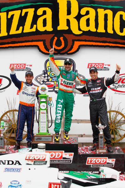 19-20, June 2010, Newton, Iowa, USATony Kanaan celebrates with E J. Viso and Helio Castroneves in victory lane.©2010, Phillip Abbott, USALAT Photographic