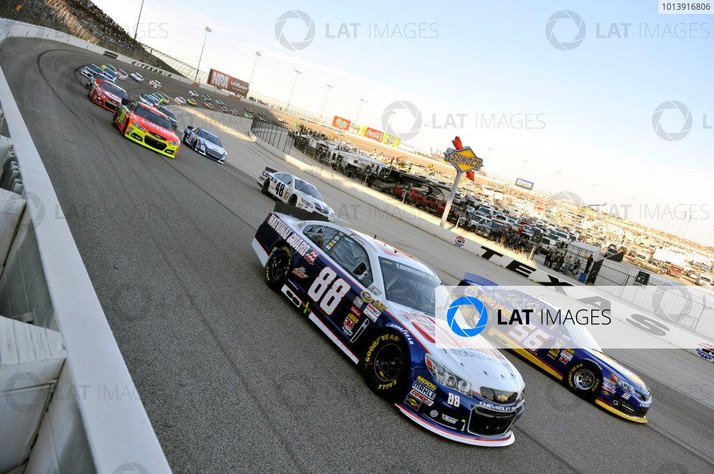 11-13 April, 2013, Fort Worth, Texas USA Dale Earnhardt Jr. and Martin Truex Jr. ©2013, Nigel Kinrade LAT Photo USA