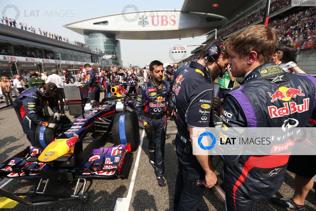 Shanghai International Circuit, Shanghai, China Sunday 14th April 2013 Sebastian Vettel, Red Bull Racing, on the grid. World Copyright: Andy Hone/LAT Photographic ref: Digital Image HONZ6593