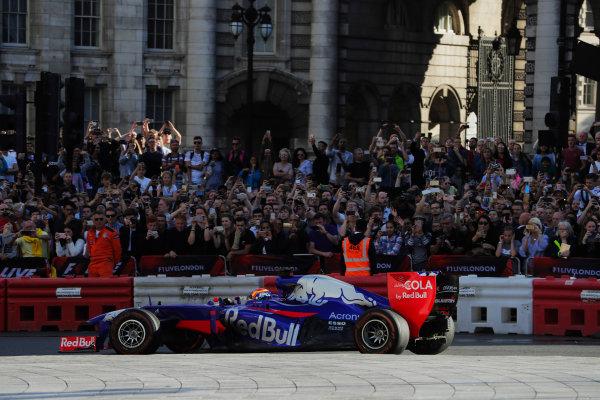 London, United Kingdom.  Wednesday 12 July 2017. Carlos Sainz Jr, Toro Rosso STR12 Renault.  World Copyright: Zak Mauger/LAT Images  ref: Digital Image _54I2354