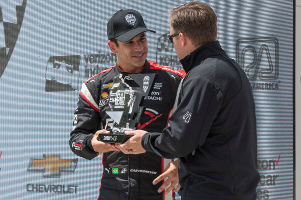 Verizon IndyCar Series Kohler Grand Prix Road America, Elkhart Lake, WI USA Sunday 25 June 2017 Helio Castroneves, Team Penske Chevrolet third place finisher World Copyright: Geoffrey M. Miller LAT Images