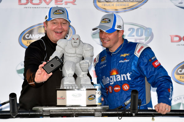 NASCAR Camping World Truck Series Bar Harbor 200 Dover International Speedway, Dover, DE USA Friday 2 June 2017 Johnny Sauter, Allegiant Airlines Chevrolet Silverado celebrates his win in Victory Lane World Copyright: Nigel Kinrade LAT Images ref: Digital Image 17DOV1nk06884
