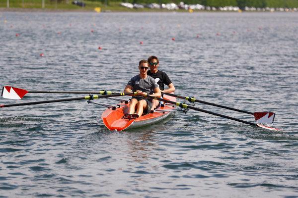 Circuit Gilles Villeneuve, Montreal, Canada. Thursday 8 June 2017. Stoffel Vandoorne, McLaren, and Tom Clarkson row a boat. World Copyright: Steven Tee/LAT Images ref: Digital Image _O3I7207