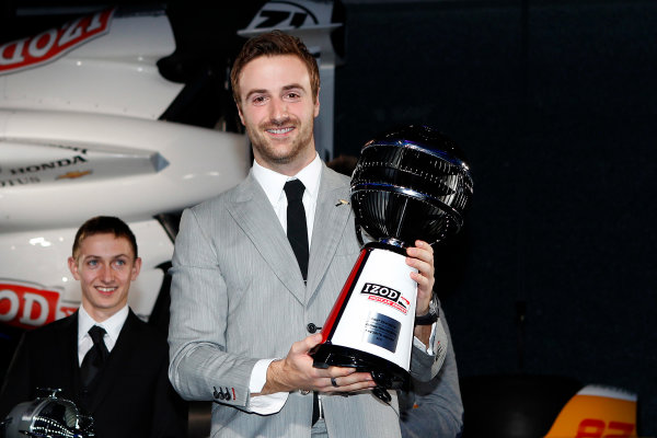 6 December, 2012, Indianapolis, Indiana USA James Hinchcliffe with fan award.(c)2012, Russell LaBounty LAT Photo USA .