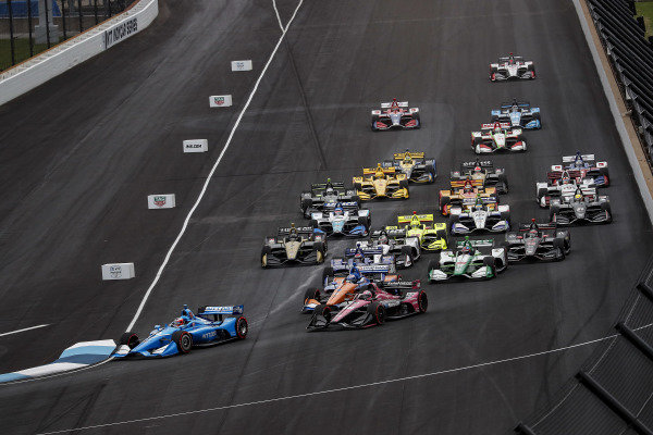 Felix Rosenqvist, Chip Ganassi Racing Honda, Scott Dixon, Chip Ganassi Racing Honda, Jack Harvey, Meyer Shank Racing, Ed Jones, Ed Carpenter Racing Chevrolet, start