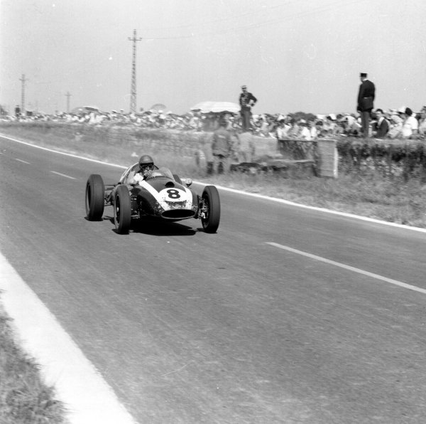 1959 French Grand Prix.Reims, France.3-5 July 1959.Jack Brabham (Cooper T51 Climax) 3rd position.Ref-4433.World Copyright - LAT Photographic