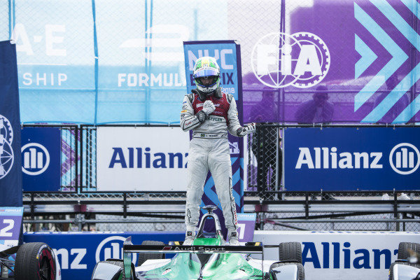 Lucas Di Grassi (BRA), Audi Sport ABT Schaeffler, Audi e-tron FE04, celebrates in Parc Ferme after winning the race.