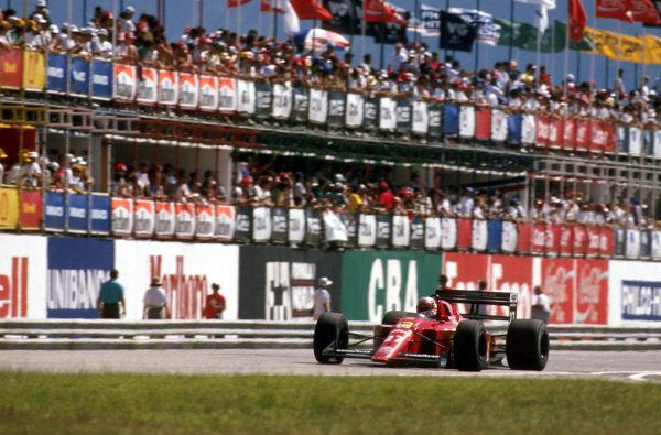 Rio, Brazil.24-26 March 1989.Nigel Mansell (Ferrari 640) 1st position on his debut race with Ferrari.Ref-89 BRA 02.World Copyright - LAT Photographic