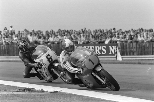 Giacomo Agostini, MV Agusta, leads Barry Sheene, Suzuki.