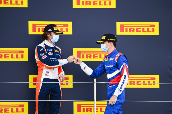 Race Winner Alexander Smolvar (RUS, ART GRAND PRIX) and Clement Novalak (GBR, CARLIN BUZZ RACING) celebrate on the podium