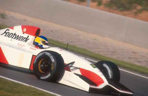 1992 Spanish Grand Prix.Catalunya, Barcelona, Spain.1-3 May 1992.Michele Alboreto (Footwork FA13 Mugen-Honda) 5th position.Ref-92 ESP 15.World Copyright - LAT Photographic