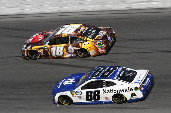 #18: Kyle Busch, Joe Gibbs Racing, Toyota Camry M&M's Chocolate Bar, #88: Alex Bowman, Hendrick Motorsports, Chevrolet Camaro Nationwide
