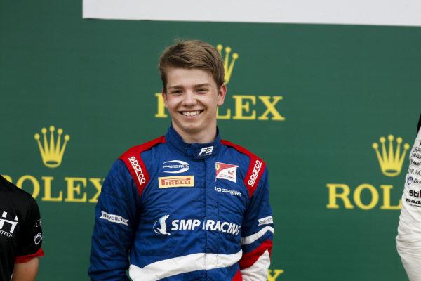 Robert Shwartzman (RUS) PREMA Racing on the podium