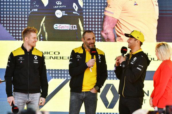 Nico Hulkenberg, Renault F1 Team, Cyril Abiteboul, Managing Director, Renault F1 Team, and Daniel Ricciardo, Renault, at the Federation Square event