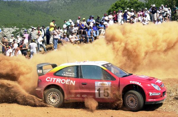 2001 World Rally Championship.Acropolis Rally June 14-17, 2001.Thomas Radstrom on stage one during leg one .Photo: Ralph Hardwick/LAT
