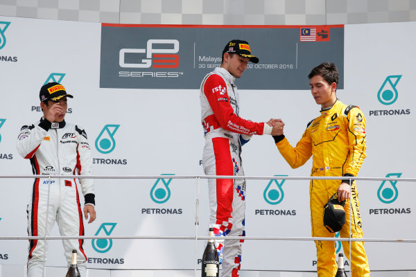Jake Dennis (GBR, Arden International) Nirei Fukuzumi (JPN, ART Grand Prix) and Jack Aitken (GBR, Arden International)  2016 GP3 Series Round 8 Sepang International Circuit, Sepang, Malaysia. Sunday 2 October 2016  Photo: /GP3 Series Media Service ref: Digital Image _SLA4798