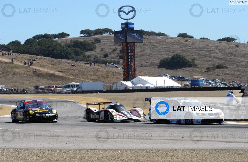 16-18 September, 2011, Monterey, California USA#56 BMW Team RLL BMW E92 M3 with #6 Aston Martin and #23 Porsche.(c)2011,  Dan R. Boyd  LAT Photo USA