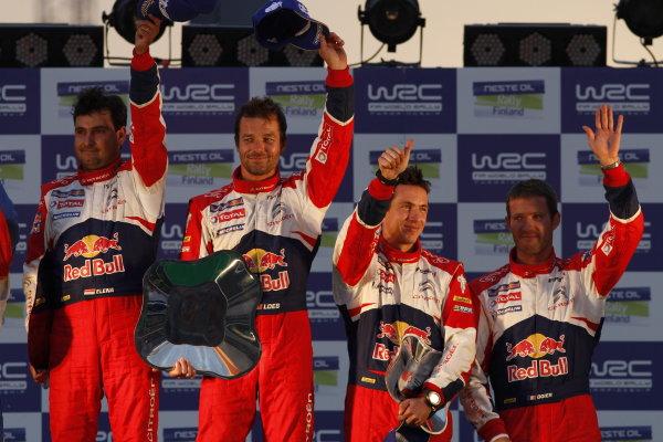 Round 8, Rally Finland, 28th - 30th July 2011Sebastien Loeb, Daniel Elena, Citroen, PodiumWorldwide Copyright: LAT/McKlein