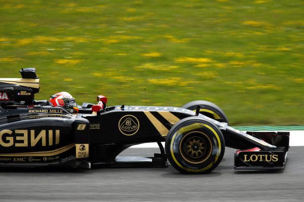 Romain Grosjean (FRA) Lotus E23 Hybrid at Formula One World Championship, Rd8, Austrian Grand Prix, Qualifying, Spielberg, Austria, Saturday 20 June 2015.