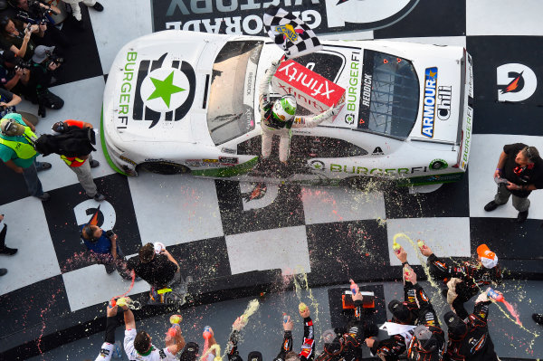 NASCAR Xfinity Series PowerShares QQQ 300 Daytona International Speedway, Daytona Beach, FL USA Saturday 17 February 2018 Tyler Reddick, JR Motorsports, BurgerFi Chevrolet Camaro celebrates his win World Copyright: Nigel Kinrade LAT Images