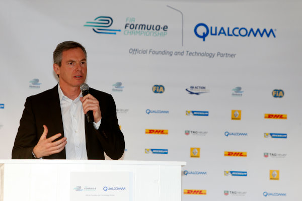 5-6 January, 2014, Las Vegas, Nevada USA Dr. Paul E. Jacobs, Chairman and CEO of Qualcomm Incorporated, addresses the media at a press event to introduce the new Spark-Renault SRT_01E Formula E car ©2014, Lesley Ann Miller LAT Photo USA