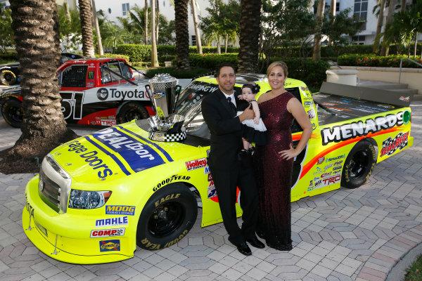 18 November, 2013, Miami Beach, Florida, USA Matt and Ashley Crafton with daughter Elladee © 2013, Michael L. Levitt LAT Photo USA