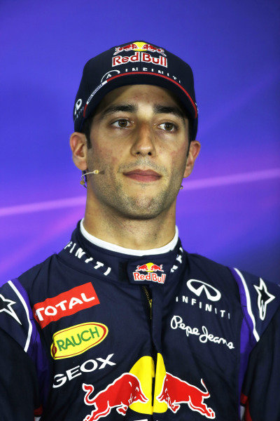 Circuit de Catalunya, Barcelona, Spain. Saturday 10 May 2014. Daniel Ricciardo, Red Bull Racing, in the post qualifying Press Conference. World Copyright: Glenn Dunbar/LAT Photographic. ref: Digital Image _W2Q7179
