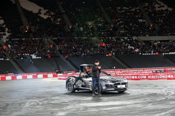 2015 Race Of Champions Olympic Stadium, London, UK Saturday 21 November 2015 Terry Grant does some donuts around David Croft Copyright Free FOR EDITORIAL USE ONLY. Mandatory Credit: 'IMP'