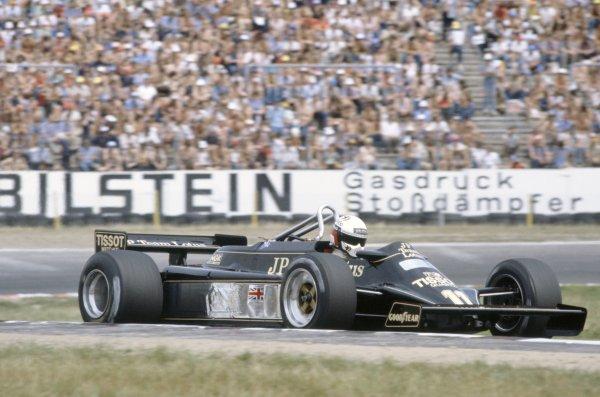 1981 German Grand Prix.Hockenheim, Germany. 31 July-2 August 1981.Elio de Angelis (Lotus 87-Ford Cosworth), 7th position.World Copyright: LAT PhotographicRef: 35mm transparency 81GER23