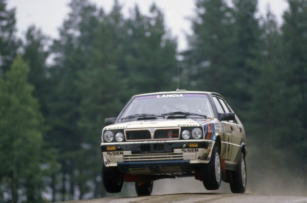 1987 World Rally Championship.1000 Lakes Rally, Finland. 27-30 August 1987.Markku Alen/Ilkka Kivimaki (Lancia Delta HF 4WD), 1st position.World Copyright: LAT PhotographicRef: 35mm transparency 87RALLY07