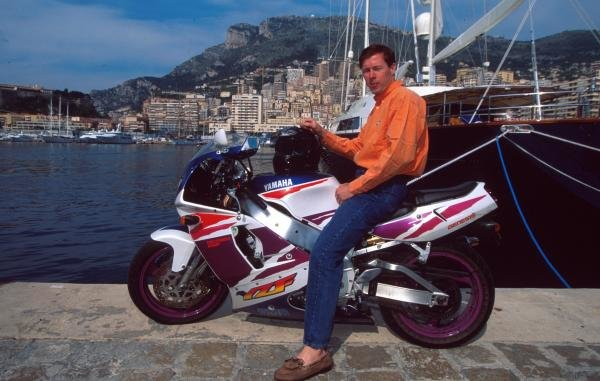 Colin McRae at on his motorbike at home in Monte Carlo. Drivers At Home