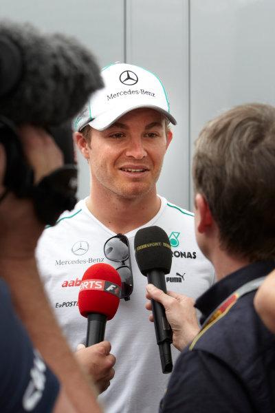 Hungaroring, Budapest, Hungary 26th July 2012 Nico Rosberg, Mercedes AMG is interviewed by Sky Sports. World Copyright: Steve Etherington/LAT Photographic ref: Digital Image FA4C6736 copy