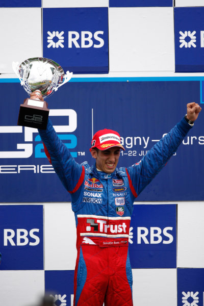 Magny-Cours, France. 22nd June.Sunday Race. Sebastien Buemi (SUI, Trust Team Arden) celebrates victory on the podium. World Copyright: Andrew Ferraro/GP2 Series Media Service.ref: Digital Image _H0Y8064
