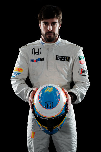 McLaren Honda MP4-30 Reveal Woking, UK. 29 January 2015 Fernando Alonso. Photo: McLaren (Copyright Free FOR EDITORIAL USE ONLY) ref: Digital Image MH-Drivers-20150127-0569