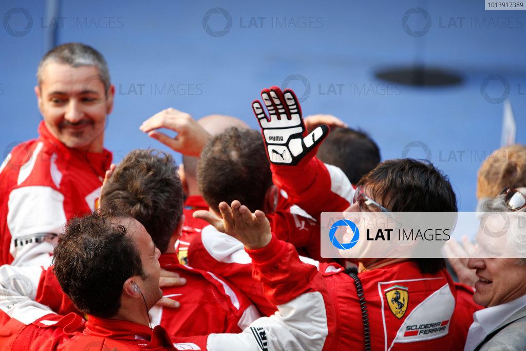 Shanghai International Circuit, Shanghai, China Sunday 14th April 2013 The Ferrari team celebrate victory. World Copyright: Glenn Dunbar/LAT Photographic ref: Digital Image _89P8762