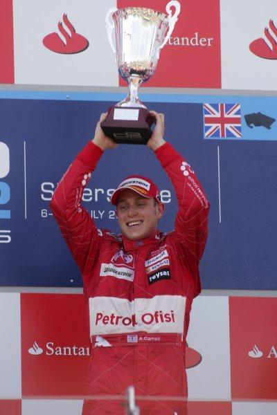 2007 GP2 Series Round 5. Silverstone, England. 8th July 2007. Sunday Race.Adam Carroll (GBR, Petrol Ofisi FMS International) celebrates victory. World Copyright: Alastair Staley/GP2 Series Media Service.ref: Digital Image IMG_2498