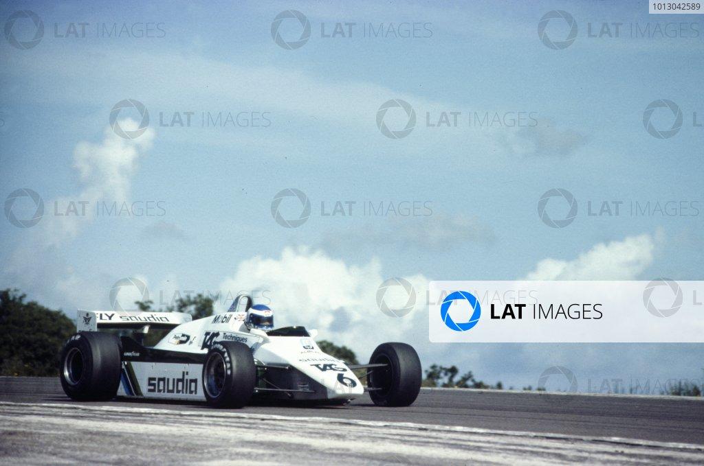 1982 Swiss Grand Prix.Dijon-Prenois, France. 29 August 1982.Keke Rosberg, Williams FW08-Ford, 1st position, action.World Copyright: LAT PhotographicRef: 35mm transparency 82SWI02