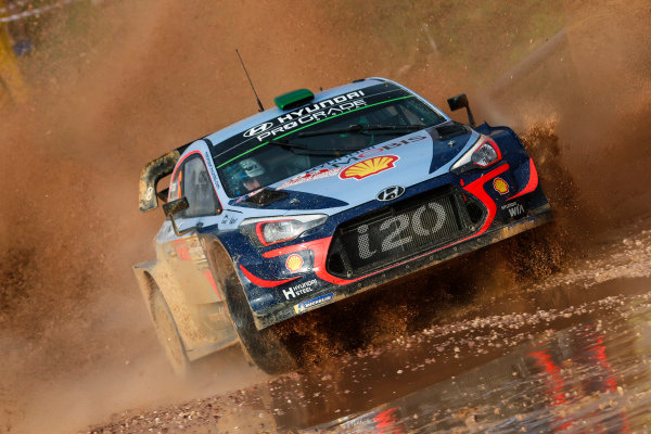 Hayden Paddon in the mud and water of Rally d'Italia Sardinia