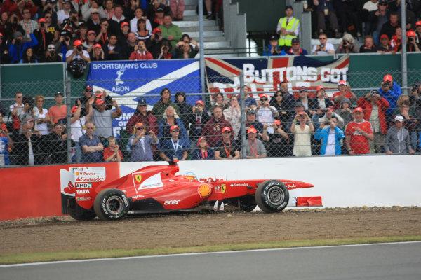 Silverstone, Northamptonshire, England 9th July 2011Fernando Alonso, Ferrari 150° Italia, action, goes off in qualifying oneWorld Copyright: Jakob Ebrey/LAT Photographic