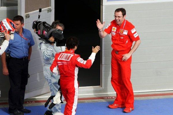 Race winner Felipe Massa (BRA) Ferrari with Stefano Domenicali (ITA) Ferrari Manager of F1 Operations. Formula One World Championship, Rd 3, Bahrain Grand Prix, Race, Bahrain International Circuit, Bahrain, Sunday 6 April 2008.