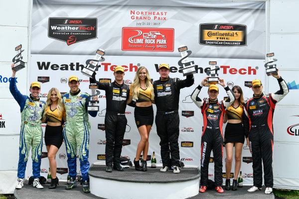 IMSA Continental Tire SportsCar Challenge Lime Rock Park 120 Lime Rock Park, Lakeville, CT USA Saturday 22 July 2017  27, Mazda, Mazda MX-5, ST, Britt Casey Jr, Matt Fassnacht, 25, Mazda, Mazda MX-5, ST, Chad McCumbee, Stevan McAleer, 84, BMW, BMW 328i, ST, James Clay, Tyler Cooke World Copyright: Richard Dole LAT Images ref: Digital Image RD_LRP_17_01189