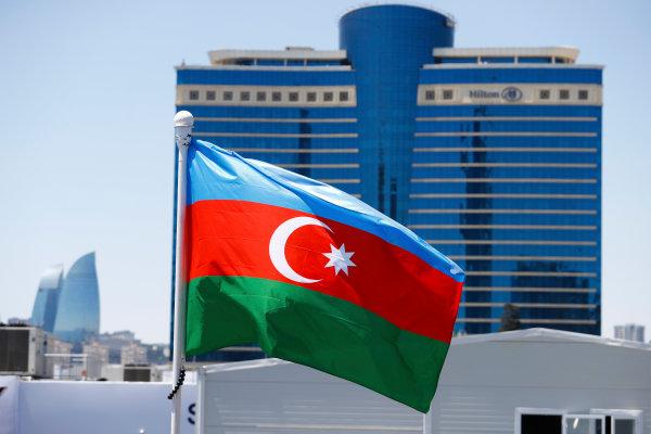 Baku City Circuit, Baku, Azerbaijan. Saturday 24 June 2017. An Azerbaijan flag flies in front of the Hilton Hotel. World Copyright: Steven Tee/LAT Images ref: Digital Image _R3I2648