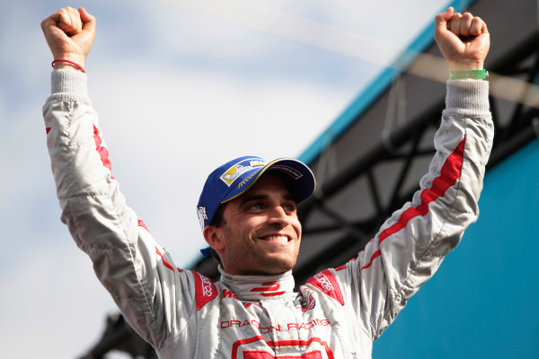 2014/2015 FIA Formula E Championship. Berlin ePrix, Berlin Tempelhof Airport, Germany. Saturday 23 May 2015 Podium. Jerome D'Ambrosio (BEL)/Dragon Racing - Spark-Renault SRT_01E. Photo: Zak Mauger/LAT/Formula E ref: Digital Image _MG_7800
