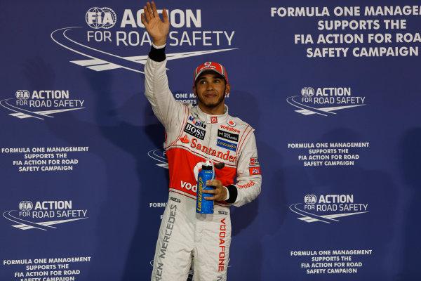 Yas Marina Circuit, Abu Dhabi, United Arab Emirates Saturday 3rd November 2012. Pole man Lewis Hamilton, McLaren.  World Copyright:Andrew Ferraro/  ref: Digital Image _79P2853