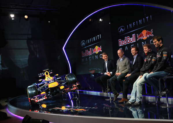 Milton Keynes, UK 3rd February 2013 .(L-R) Simon Sproule, Infiniti Corporate Vice-President Global Marketing, Adrian Newey, Chief Technical Officer, Christian Horner, Team Principle, Mark Webber of Australia, and Sebastian Vettel of Germany talk to the guests Photo: Richard Heathcote/Getty Images/Red Bull Racing () ref: Digital Image 160597329_10