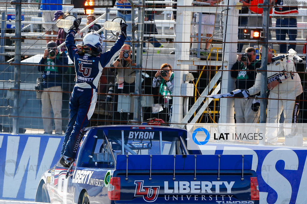 23-24 September, 2016, Loudon, New Hampshire USA William Byron celebrates his win ?2016, Russell LaBounty LAT Photo USA