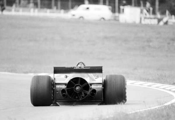 A Brabham BT46B is tested featuring the controversial rear fan; claimed by the team to be for cooling, but was actually there to improve grip.